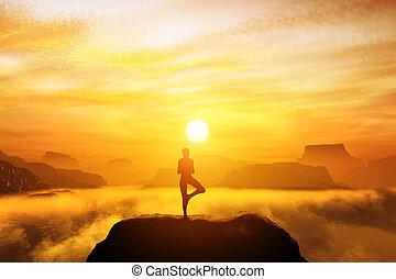 kvinna planera, in, träd, yoga ställning, på, den, topp, av, a, mountains