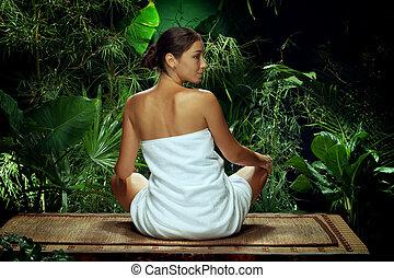 kvinna planera, ung, miljö, kurort, vändkrets, trevlig, synhåll