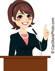 kvinna, politiker, talande