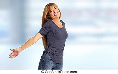 kvinna, portrait., lycklig