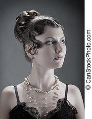 kvinna, portrait., retro nypremiär