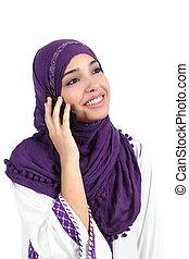 kvinna prata, hijab, mobil, tröttsam, muslimsk, ringa, vacker