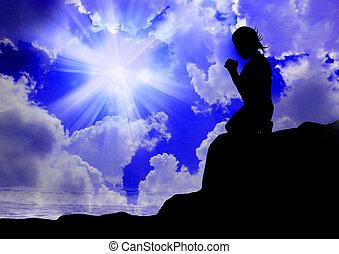 kvinna praying, till, gud