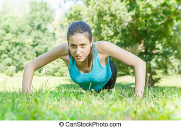 kvinna, push-ups, fitness