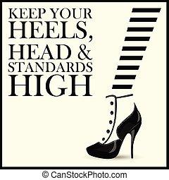kvinna, quotes., mode, sko