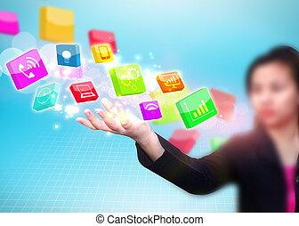 kvinna räcka, affär, social, media, ikon
