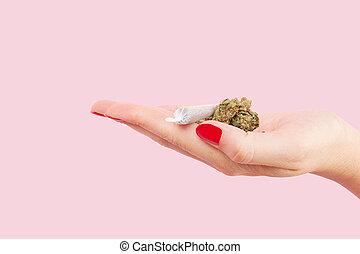 kvinna räcka, bud., cannabis