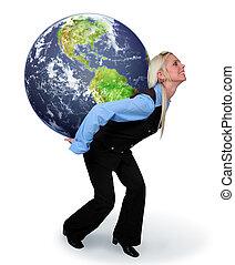 kvinna räcka, jorden