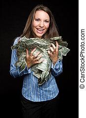 kvinna räcka, pengar