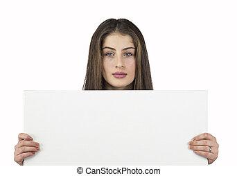 kvinna räcka, tom, affisch