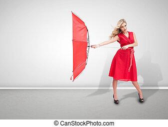 kvinna räcka, tröttsam, röd beskydda, klänning, vacker