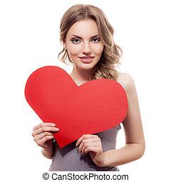 kvinna räcka, underteckna, dag, hjärta, day., utrymme, avskrift, valentinkort