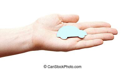 kvinna, räcker, holdingen, blå bil, isolerat, vita, bakgrund