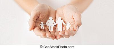kvinna, räcker, med, papper, man, familj