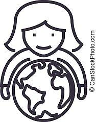 kvinna, räcker, slaglängder, klot, illustration, själsgåvor, vektor, editable, underteckna, fodra, bakgrund, ikon