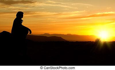 kvinna, rectified, solnedgång, bryn, grov, silhuett