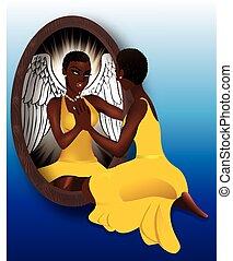 kvinna, reflexion, gul