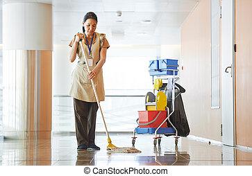 kvinna, rensning, byggnad, sal