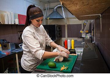 kvinna, restaurang, sushi, kock, förbereder sig, vit
