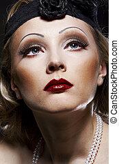kvinna, retro nypremiär, portrait., 30, av, den, xx,...