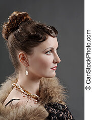 kvinna, retro nypremiär, portrait.
