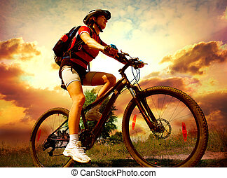 kvinna, ridande, lycklig, livsstil, ung, cykel, hälsosam, utsida.