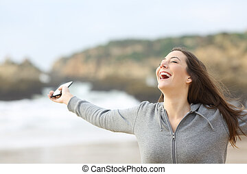 kvinna, ringa, holdingen, strand, spänd, smart