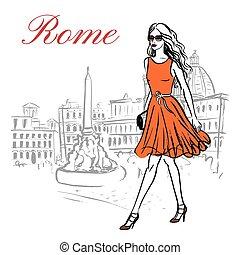 kvinna, rom