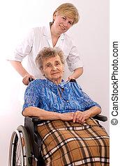 kvinna, rullstol, äldre