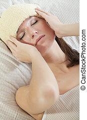 kvinna, säng, feber