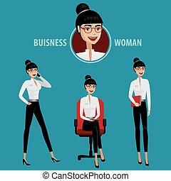 kvinna, sätta, affär