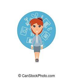 kvinna, sätta, kontor, affärsverksamhet ikon