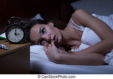 kvinna, sömnlöst, lögnaktig, säng