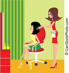 kvinna, salon., skönhet