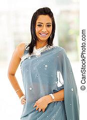 kvinna, sari, indisk, lycklig