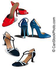kvinna, shoes., illustration, vektor, mode, röd