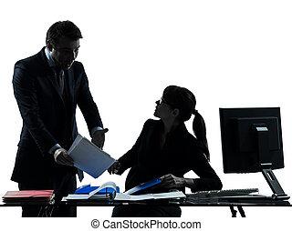 kvinna, silhuett, affärsverksamhet koppla, tvist, konflikt,...