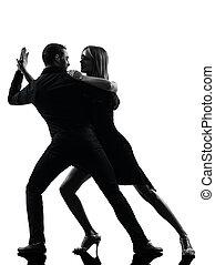 kvinna, silhuett, dansande, par, dansare, vagga, salsa, man