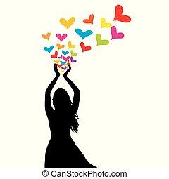 kvinna, silhuett, färgad, henne, räcker, hjärtan