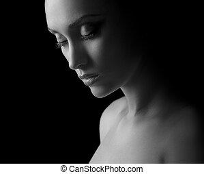 kvinna, silhuett, in, svart & white