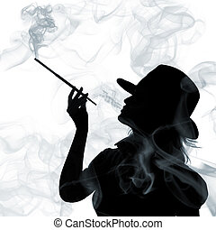 kvinna, silhuett, isolerat, bakgrund, rökning, vit