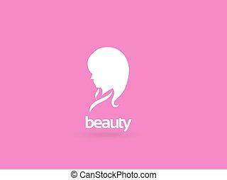 kvinna, silhuett, kurort, skönhet, -, ansikte, flicka, kosmetika, vektor, hälsa, logo, template., design, &, skapande, mode, icon., themes.