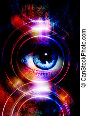 kvinna, silhuett, lätt, concept., högtalare, musik, ögon, circle.