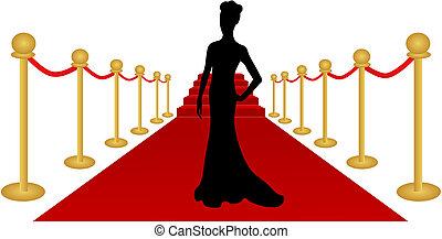 kvinna, silhuett, röd matta, vektor