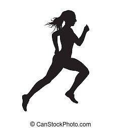 kvinna, silhuett, spring, vektor, sida se