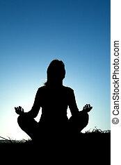 kvinna, silhuett, tillverkning, yoga