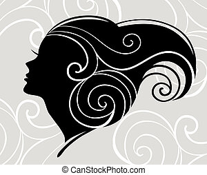 kvinna, silhuett, vacker