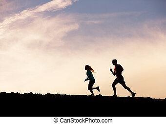 kvinna, silhuett, wellness, spring, tillsammans, joggning, begrepp, fitness, solnedgång, man
