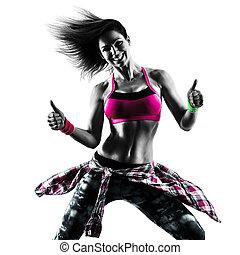 kvinna, silhuett, zumba, dansande, isolerat, dansare, fitness, träningen