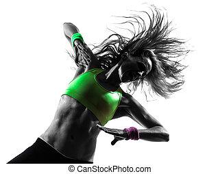 kvinna, silhuett, zumba, dansande, exercerande, fitness